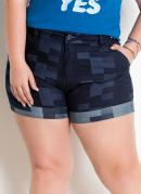 Shorts Jeans Efeito Patchwork Plus Size