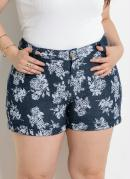 SHORTS (JEANS FLORAL) ESTAMPADO PLUS SIZE