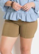 Shorts Justo Bege com Cintura Alta Quintess