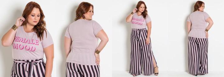 268e13c012 Score  0.0 T-Shirt Rosa Plus Size com Estampa Feminista