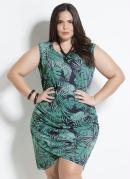 Vestido Folhagem Barra Transpassada Plus Size