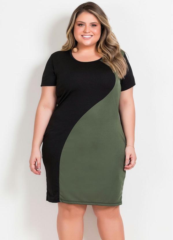 Vestido Midi (Preto e Verde) Plus Size