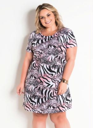 4d144c1f7d72 T-Shirt Dress Animal Print Plus Size Marguerite - SouLojista