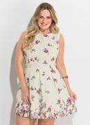 Vestido Acinturado Floral Plus Size Quintess