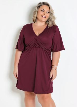Vestido (Bordô) Transpassado Plus Size