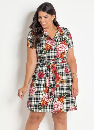af2169ec8 Vestido Chemise Plus Size Xadrez/Floral - SouLojista