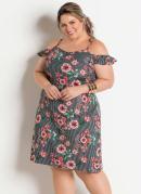 Vestido Ciganinha Floral e Listras Plus Size