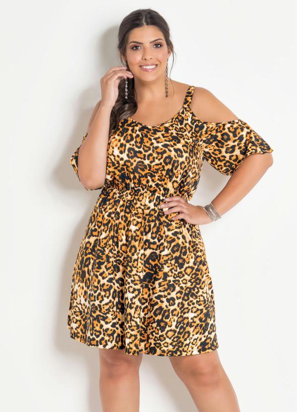 Vestido Ciganinha Plus Size (Onça) com Alças