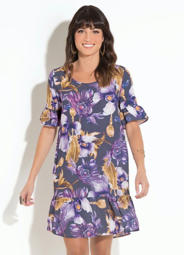 Vestido Clássico Quintess (Floral) com Babado