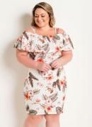 Vestido com Alças e Babado Floral Plus Size