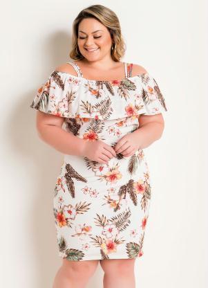 Vestido com Alças e Babado (Floral) Plus Size