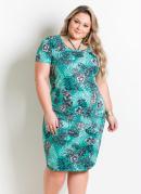 Vestido com Detalhe de Alças Plus Size Tropical