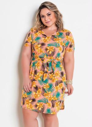 550299d0f57f Vestido com Faixa e Amarração Floral Plus Size - Quintess