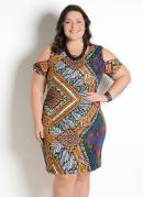 Vestido com Ombro Vazado Plus Size Étnico