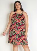Vestido Curto Camuflado/Floral Alças Plus Size