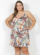 Vestido Curto Floral com Alças Plus Size