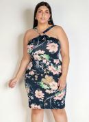 Vestido Curto Floral Frente Única Plus Size