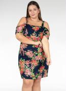 Vestido Curto Floral Ombros Vazados Plus Size
