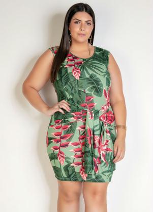 Vestido Curto (Folhagem Verde) com Faixa Plus Size
