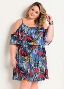 Vestido de Alças Ciganinha Tropical Plus Size