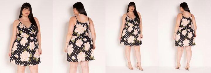 Vestido de Alças Floral e Poá Preto Plus Size
