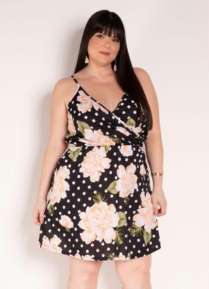 Vestido de Alças (Floral e Poá Preto) Plus Size
