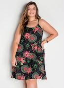 Vestido de Alças Floral Fluído Midi Plus Size