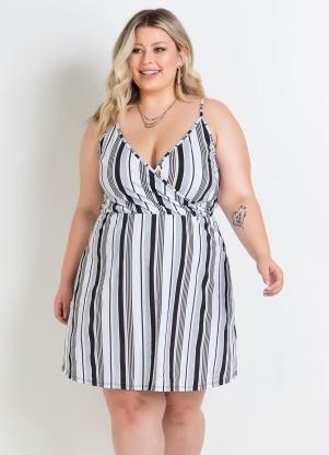 Vestido de Alças Transpassado (Listrado) Plus Size