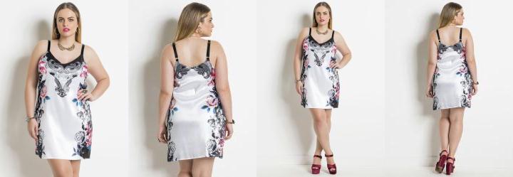 Vestido em Cetim Floral e Branco Plus Size
