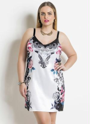 Vestido em Cetim (Floral e Branco) Plus Size