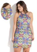 Vestido em Chiffon Abacaxi Plus Size Quintess