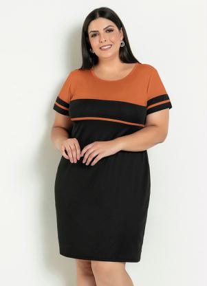 Vestido Evasê Bicolor (Preto e Caramelo) Plus Size
