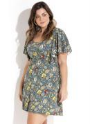 Vestido Evasê Mix de Estampas Plus Size Quintess