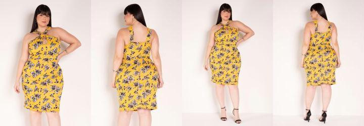 Vestido Floral com Alças Cruzadas Plus Size