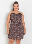 Vestido Floral com Alças e Renda Plus Size