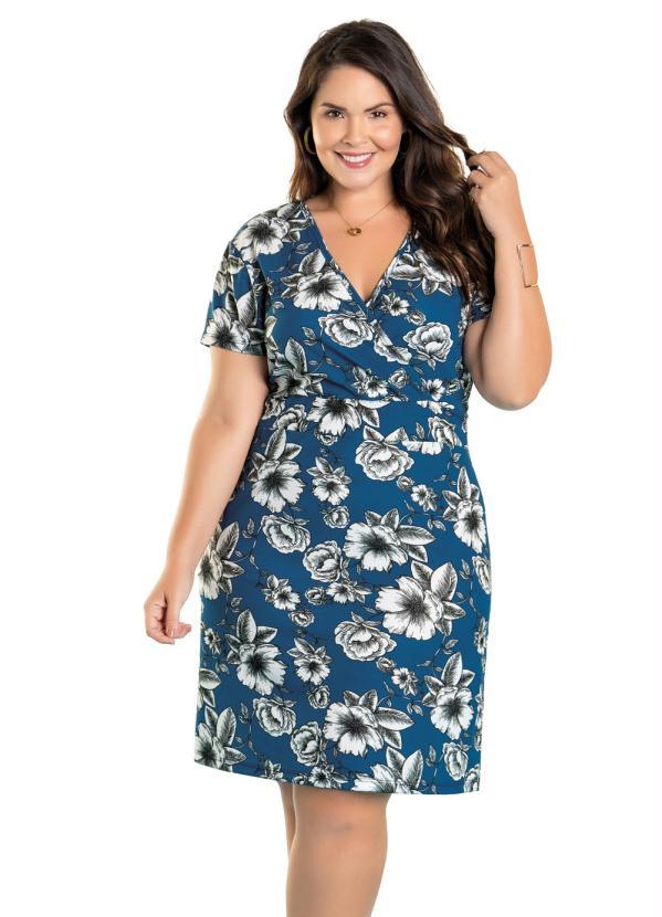 Vestido (Floral) com Decote Transpassado Plus Size