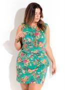 Vestido Floral com Sobreposição Plus Size