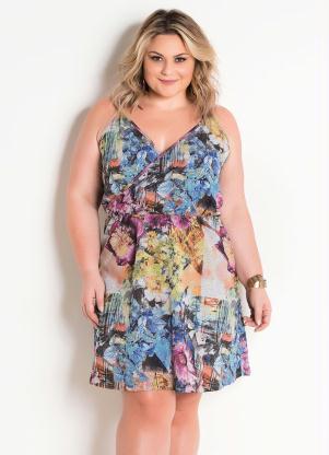 Vestido (Floral) Plus Size com Alças e Transpasse