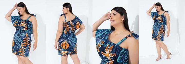 Vestido Folhagem Azul com Babado Plus Size