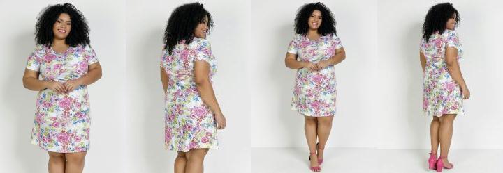 Vestido Manga Curta Floral Plus Size