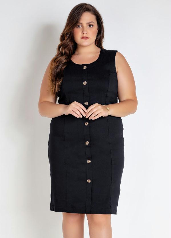 Vestido Plus Size (Preto) com Botões Frente