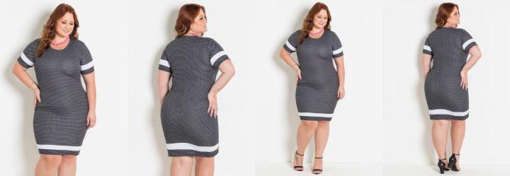 631db9b36e01 Score: 0.0 Vestido Poá com Faixas Contrastantes Plus Size · Vestido Preto