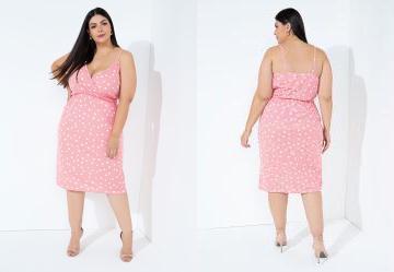 Vestido Poá Rosa Transpassado de Alças Plus Size