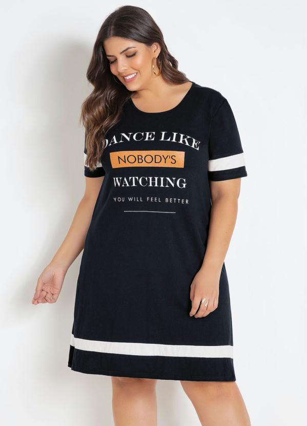 Vestido (Preto) Plus Size com Estampa Frontal