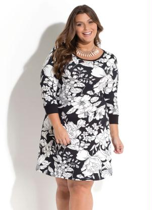 VESTIDO QUINTESS (FLORAL DARK) PLUS SIZE