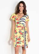Vestido Quintess Floral e Listras Manga Curta