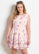 Vestido sem Mangas Floral Rosa Plus Size