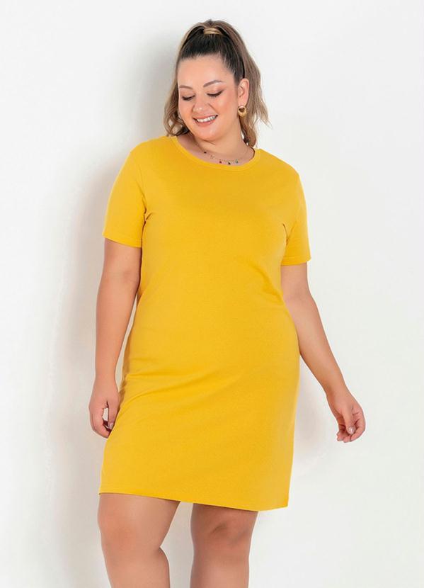 Vestido T-Shirt (Amarelo) Plus Size