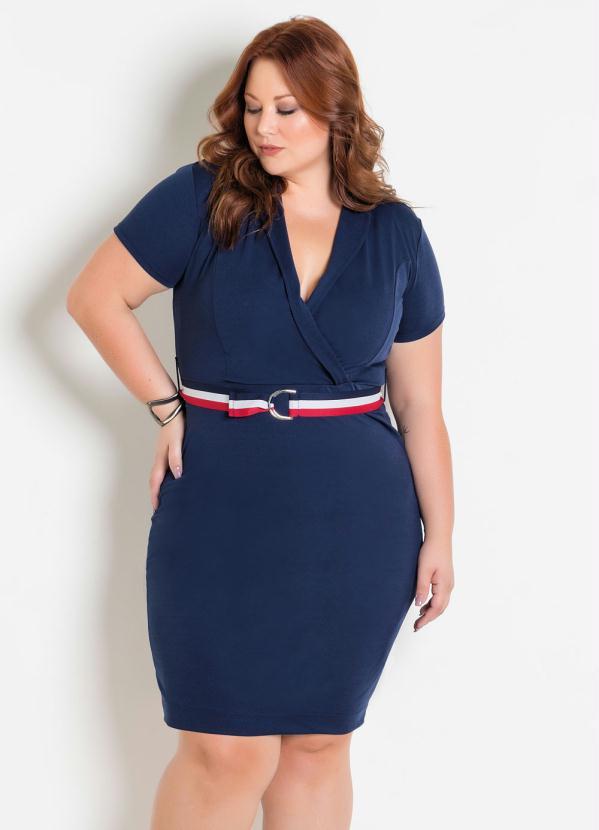 Vestido Transpassado com Faixa (Marinho) Plus Size