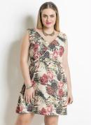 Vestido Transpassado Estampado Plus Size